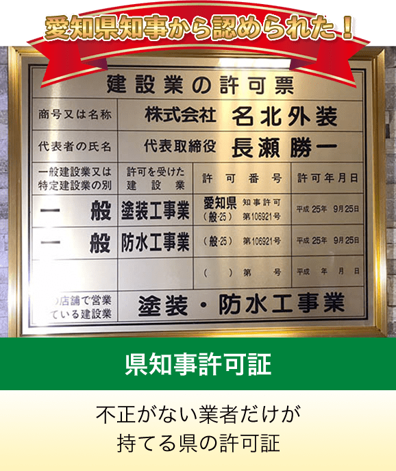愛知県知事から認められた!県知事許可証